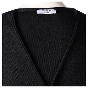 Chaleco sacerdote negro de punto 50% lana merina 50% acrílico In Primis s6