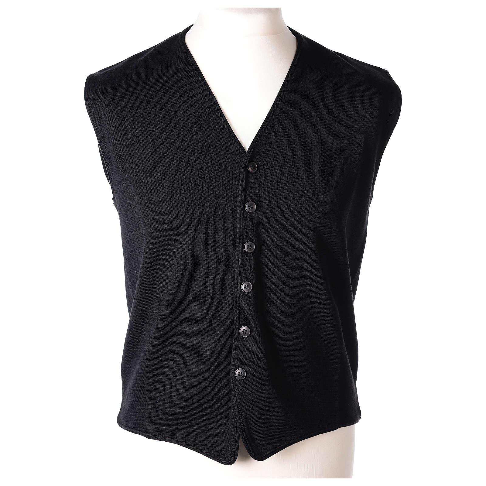 Gilet prêtre noir avec boutons 50% laine mérinos 50% acrylique In Primis 4