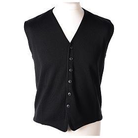 Gilet prêtre noir avec boutons 50% laine mérinos 50% acrylique In Primis s1