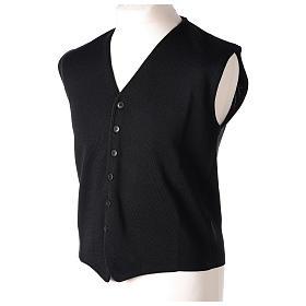 Gilet prêtre noir avec boutons 50% laine mérinos 50% acrylique In Primis s3