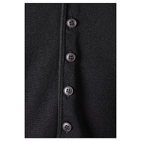 Gilet prêtre noir avec boutons 50% laine mérinos 50% acrylique In Primis s4