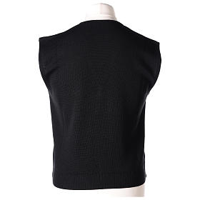 Gilet prêtre noir avec boutons 50% laine mérinos 50% acrylique In Primis s5