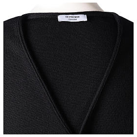Gilet prêtre noir avec boutons 50% laine mérinos 50% acrylique In Primis s6