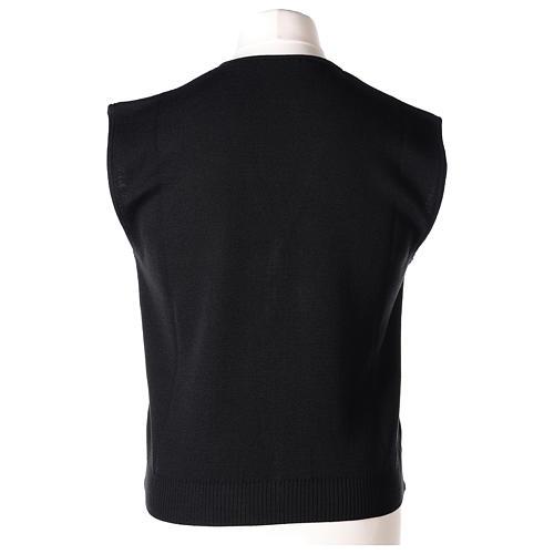 Gilet prêtre noir avec boutons 50% laine mérinos 50% acrylique In Primis 5