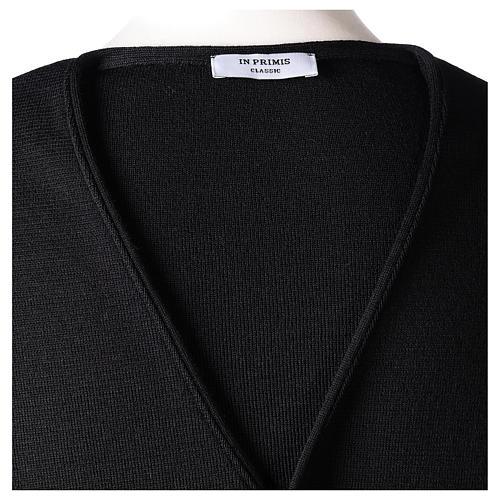 Gilet prêtre noir avec boutons 50% laine mérinos 50% acrylique In Primis 6