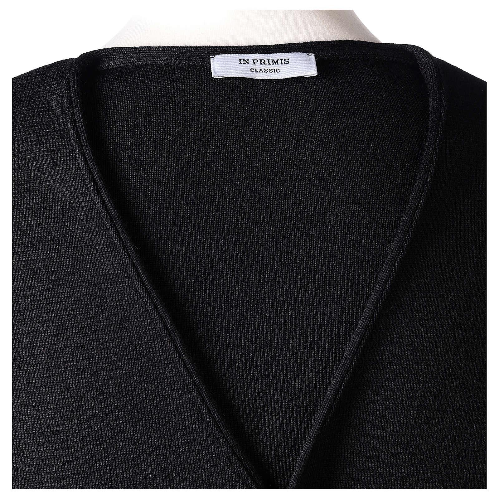 Panciotto sacerdote nero in maglia 50% lana merino 50% acrilico In Primis 4