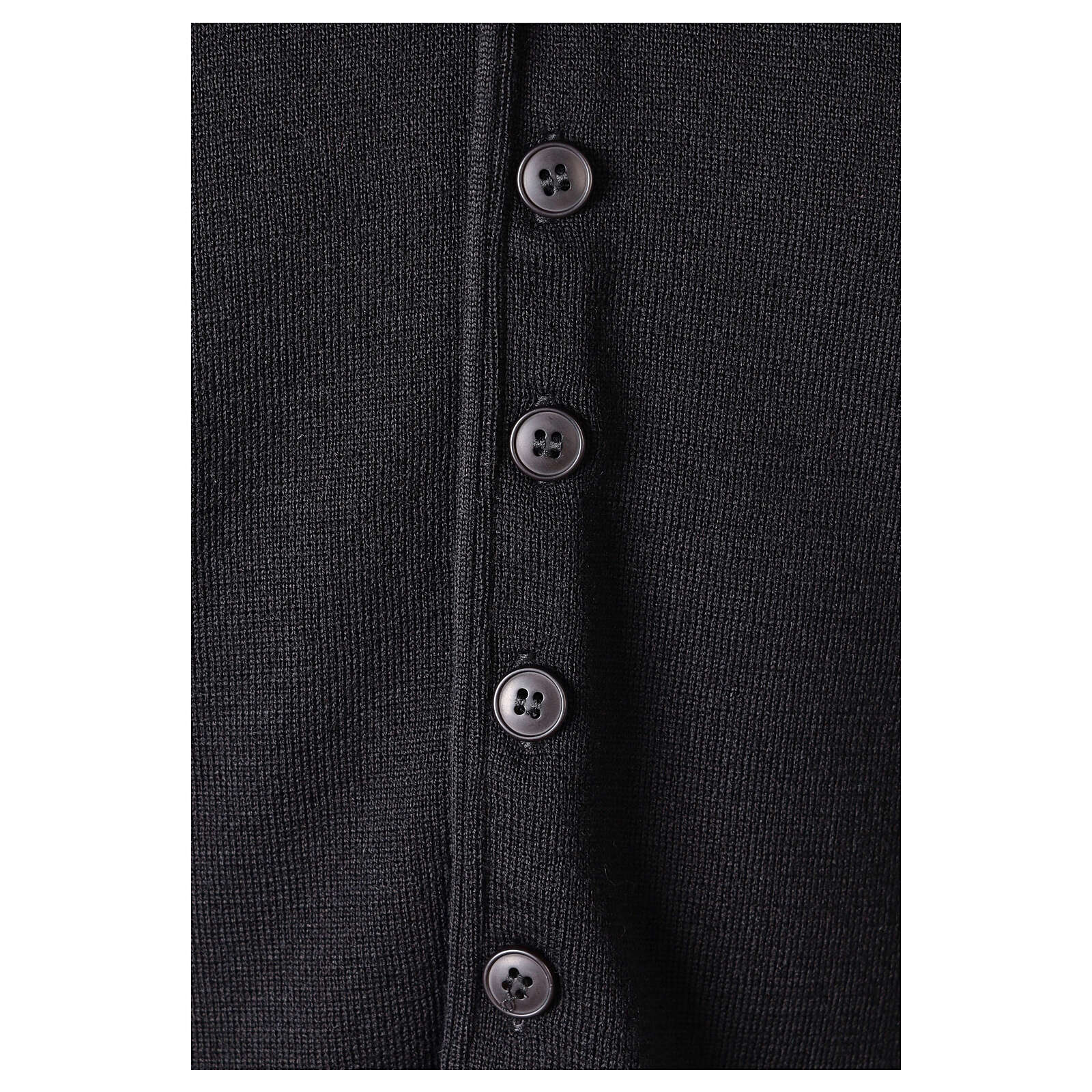 Clergy sleeveless black cardigan 50% merino wool 50% acrylic In Primis 4