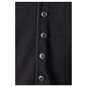 Clergy sleeveless black cardigan 50% merino wool 50% acrylic In Primis s4
