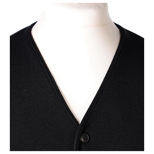 Clergy sleeveless black cardigan 50% merino wool 50% acrylic In Primis 2