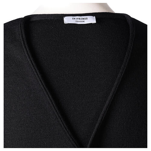 Clergy sleeveless black cardigan 50% merino wool 50% acrylic In Primis 6