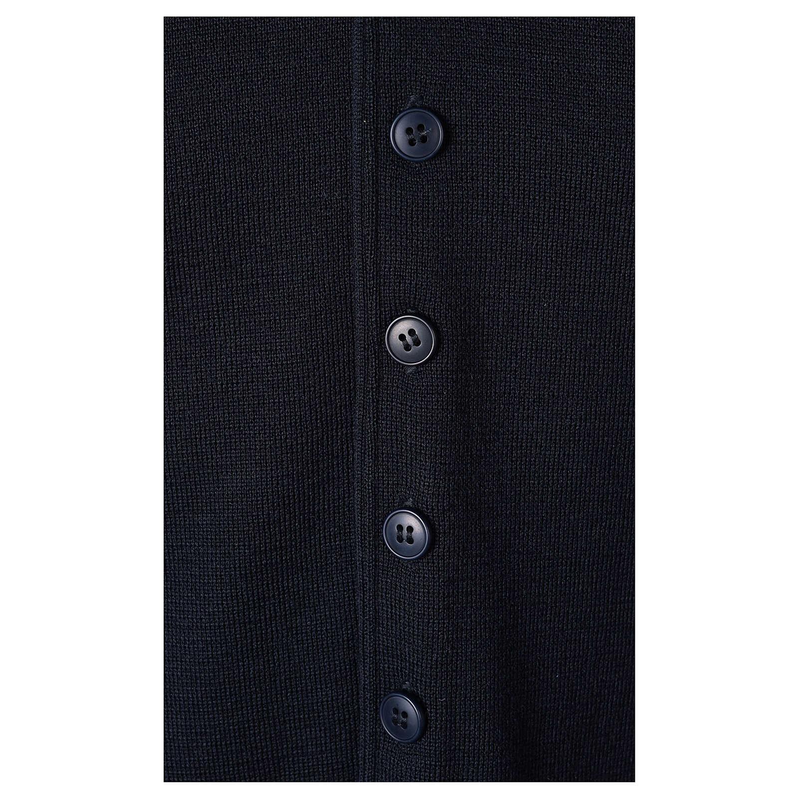Chaleco sacerdote cuello V azul de punto 50% lana merina 50% acrílico In Primis 4