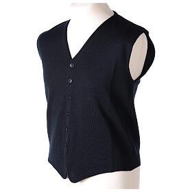Chaleco sacerdote cuello V azul de punto 50% lana merina 50% acrílico In Primis s3