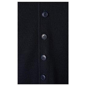 Chaleco sacerdote cuello V azul de punto 50% lana merina 50% acrílico In Primis s4