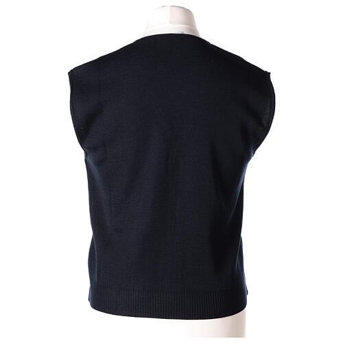 Chaleco sacerdote cuello V azul de punto 50% lana merina 50% acrílico In Primis 5