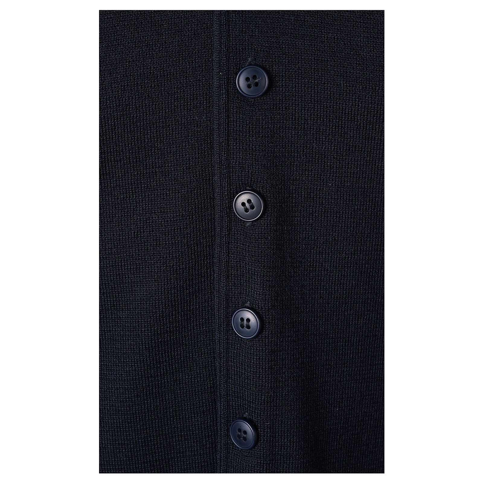 Gilet prêtre bleu avec boutons 50% laine mérinos 50% acrylique In Primis 4