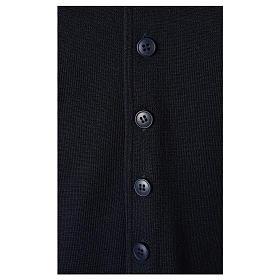 Gilet prêtre bleu avec boutons 50% laine mérinos 50% acrylique In Primis s4