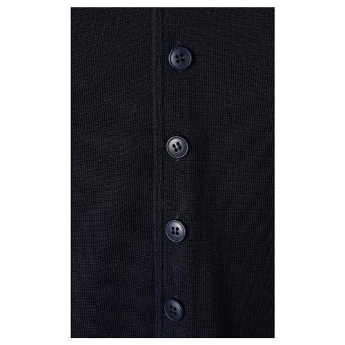 Panciotto sacerdote collo a V blu in maglia 50% lana merino 50% acrilico In Primis 4