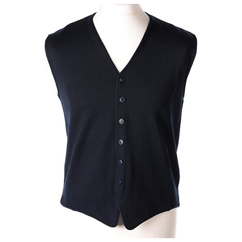 Clergy sleeveless blue cardigan 50% merino wool 50% acrylic In Primis 1