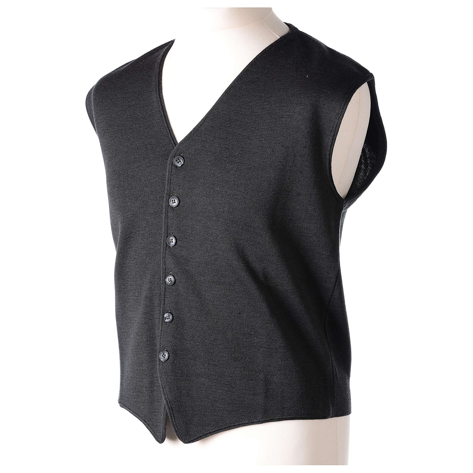 Chaleco sacerdote antracita cuello V y botones punto 50% lana merina 50% acrílico In Primis 4