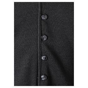 Chaleco sacerdote antracita cuello V y botones punto 50% lana merina 50% acrílico In Primis s4