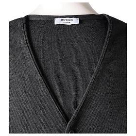 Chaleco sacerdote antracita cuello V y botones punto 50% lana merina 50% acrílico In Primis s6