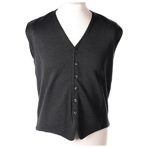 Chaleco sacerdote antracita cuello V y botones punto 50% lana merina 50% acrílico In Primis 1