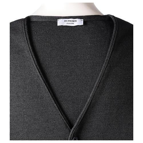 Chaleco sacerdote antracita cuello V y botones punto 50% lana merina 50% acrílico In Primis 6