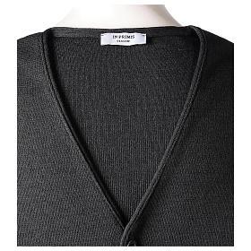 Gilet prêtre gris anthracite avec boutons 50% laine mérinos 50% acrylique In Primis s6