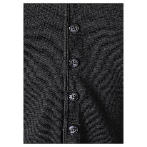 Gilet prêtre gris anthracite avec boutons 50% laine mérinos 50% acrylique In Primis 4