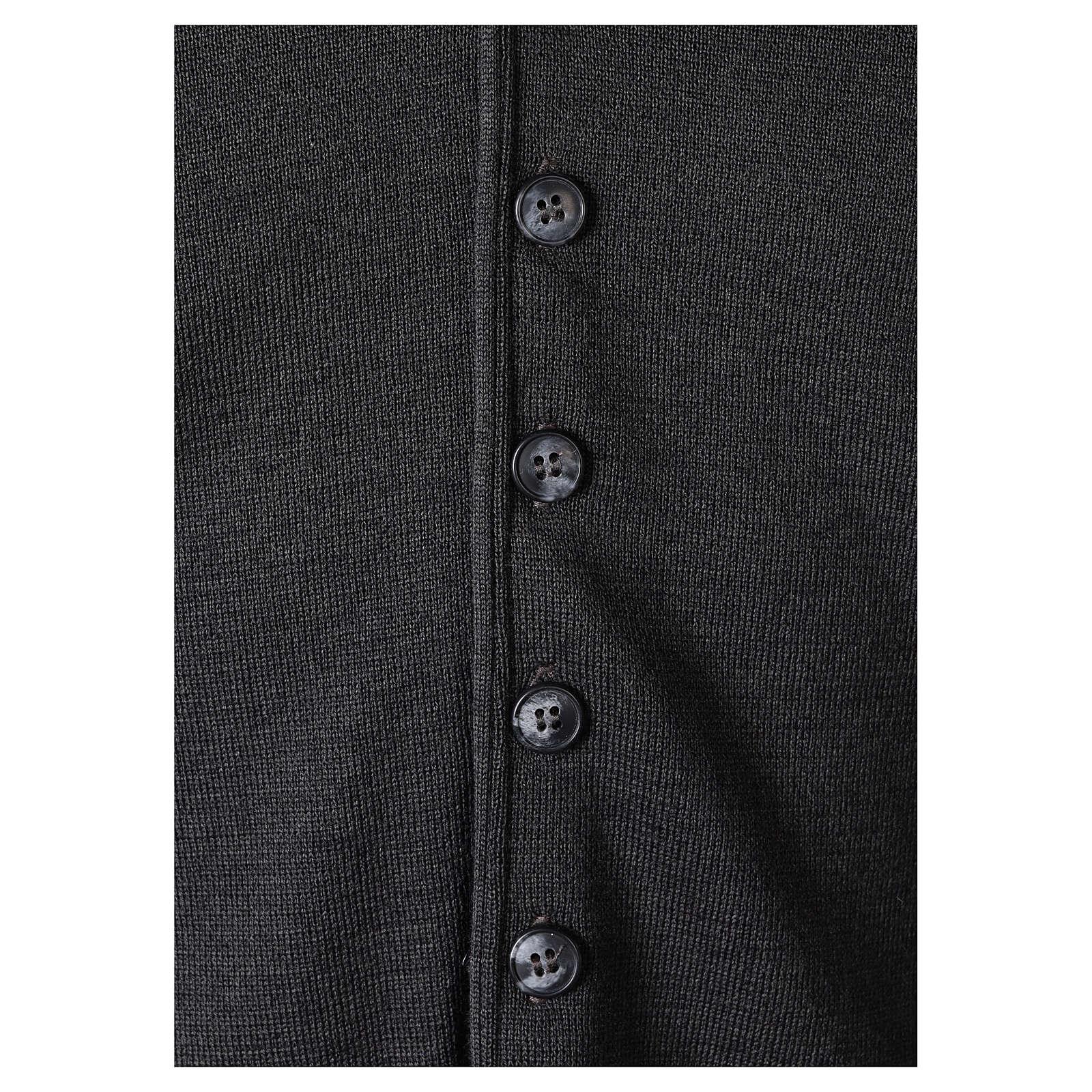 Panciotto sacerdote antracite collo V e bottoni maglia 50% lana merino 50% acrilico In Primis 4