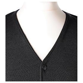 Panciotto sacerdote antracite collo V e bottoni maglia 50% lana merino 50% acrilico In Primis s2