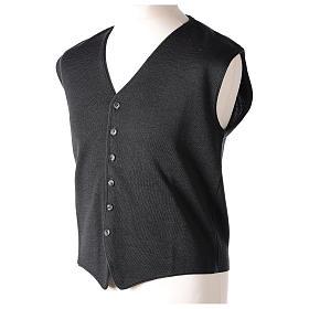 Panciotto sacerdote antracite collo V e bottoni maglia 50% lana merino 50% acrilico In Primis s3