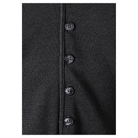 Panciotto sacerdote antracite collo V e bottoni maglia 50% lana merino 50% acrilico In Primis s4