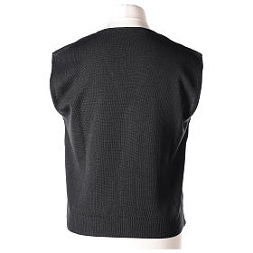 Panciotto sacerdote antracite collo V e bottoni maglia 50% lana merino 50% acrilico In Primis s5