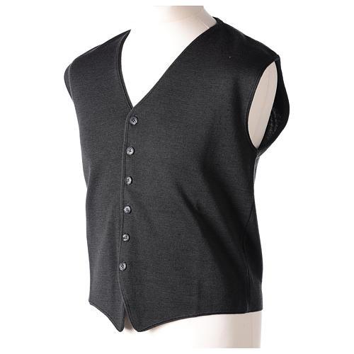 Panciotto sacerdote antracite collo V e bottoni maglia 50% lana merino 50% acrilico In Primis 3