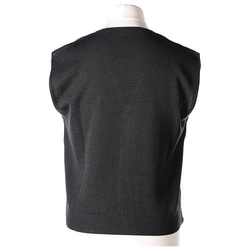 Panciotto sacerdote antracite collo V e bottoni maglia 50% lana merino 50% acrilico In Primis 5
