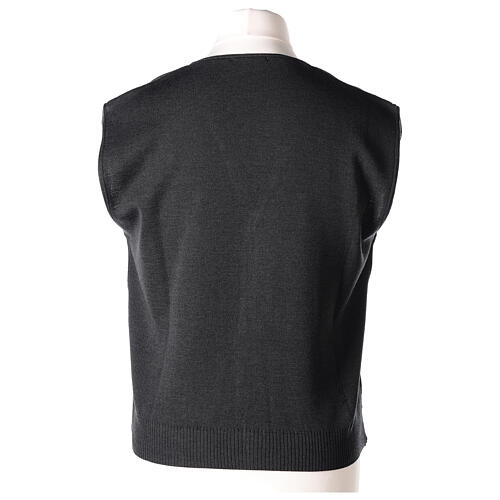 Clergy sleeveless grey cardigan 50% merino wool 50% acrylic In Primis 5