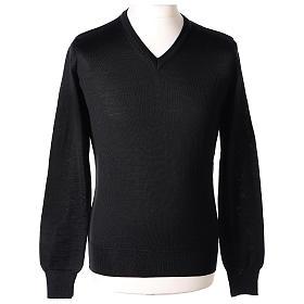 Pull prêtre col en V noir jersey simple In Primis s1