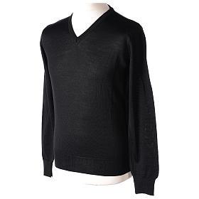 Pull prêtre col en V noir jersey simple In Primis s3