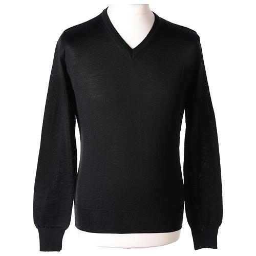 Pull prêtre col en V noir jersey simple In Primis 1