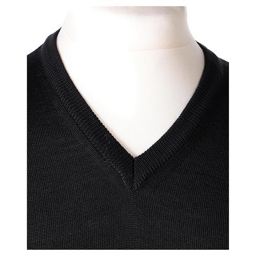 Pull prêtre col en V noir jersey simple In Primis 2