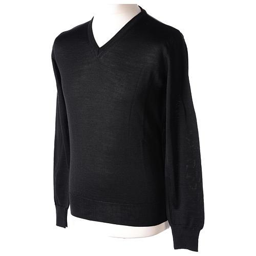 Pull prêtre col en V noir jersey simple In Primis 3