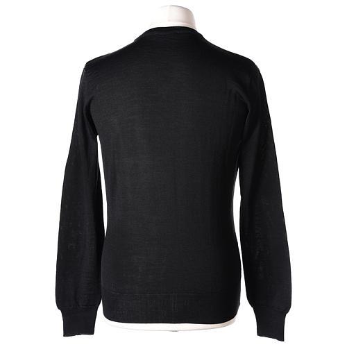 Pull prêtre col en V noir jersey simple In Primis 5