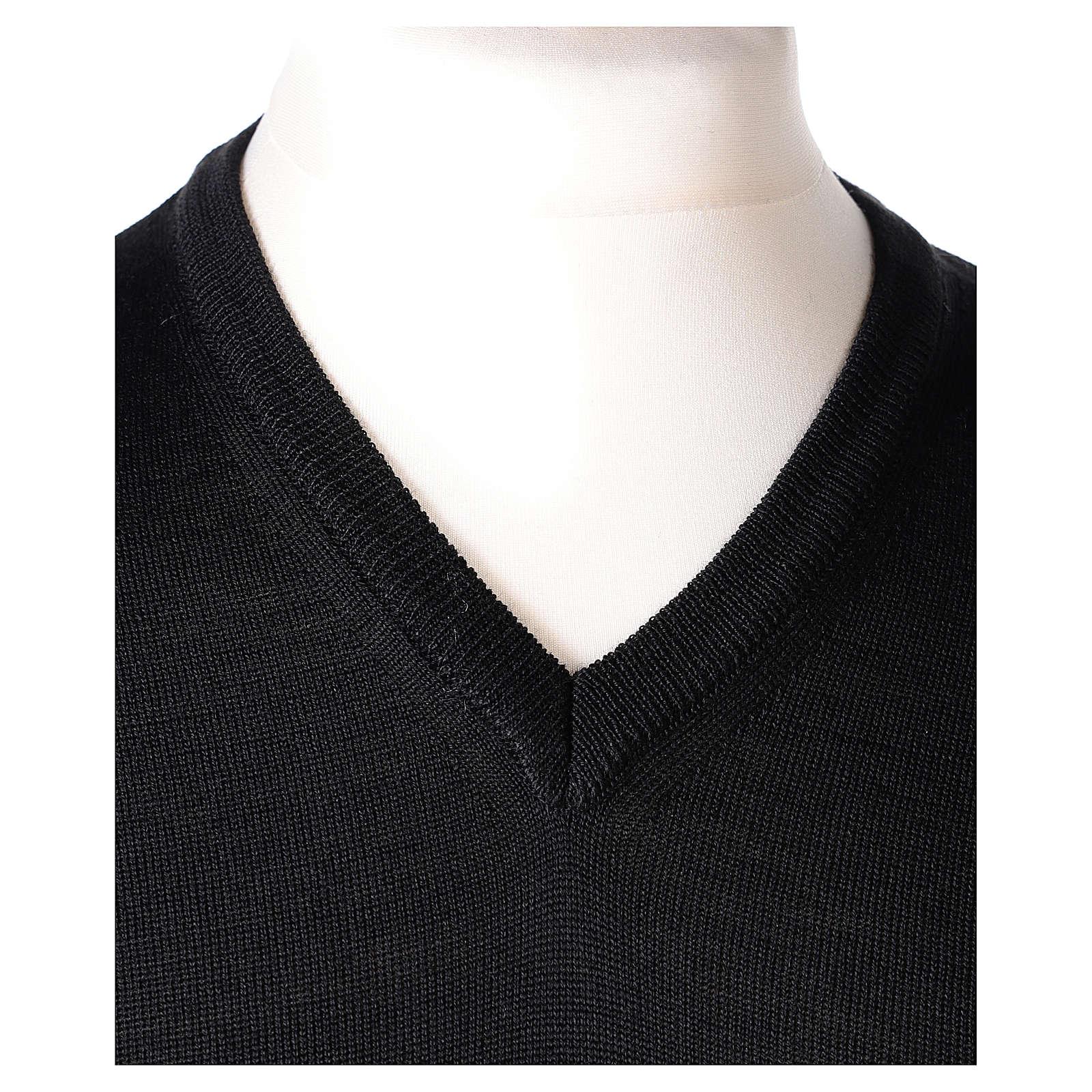 Pullover sacerdote collo a V nero maglia rasata In Primis 4