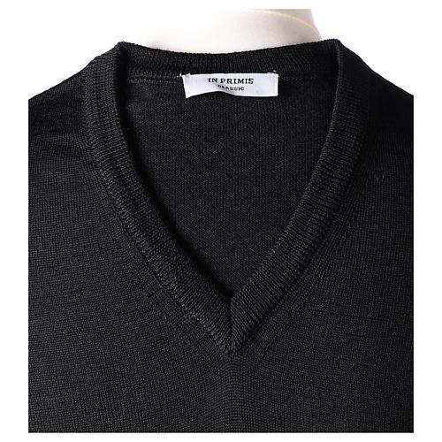Pullover sacerdote collo a V nero maglia rasata In Primis 6