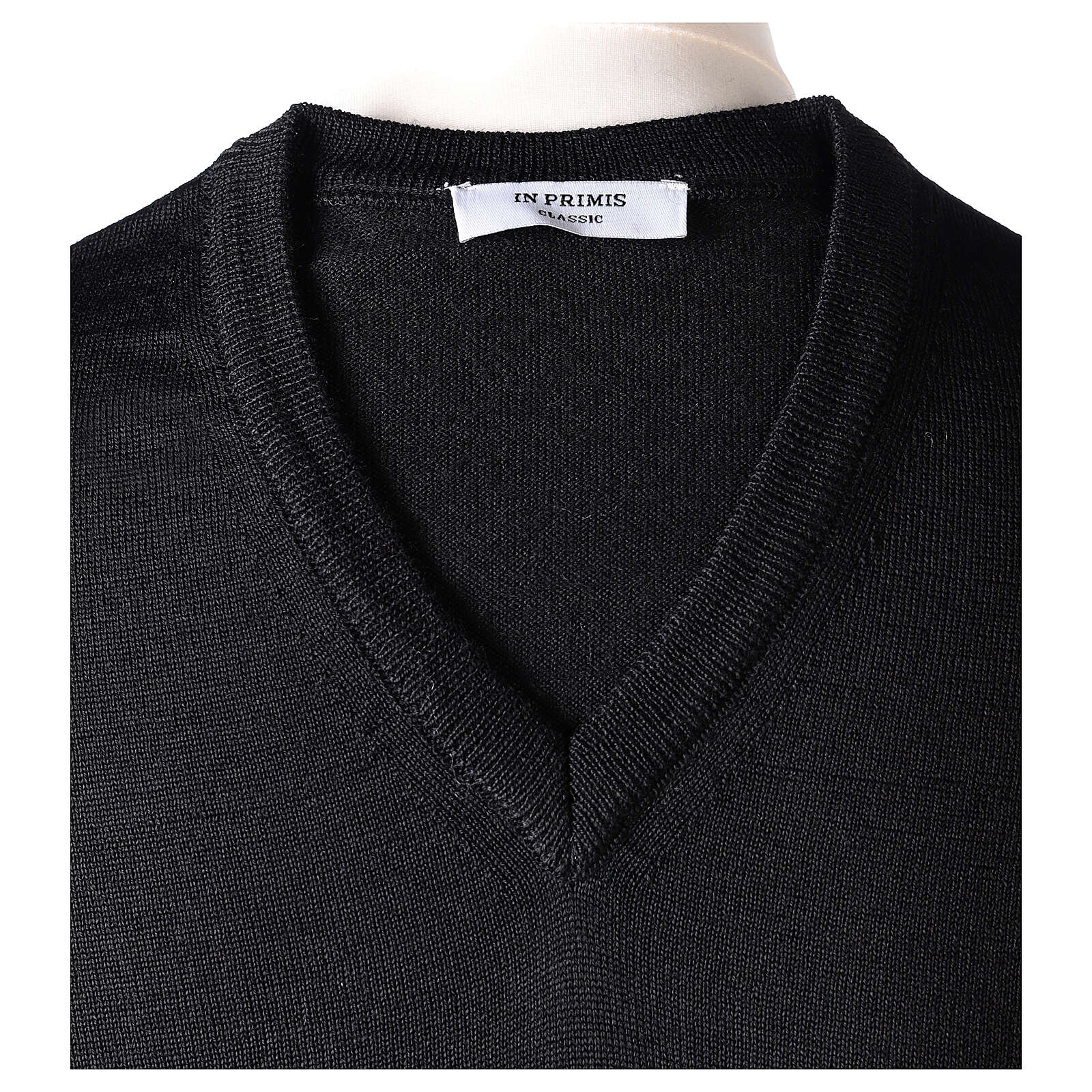 V-neck jumper for clergymen black plain knit In Primis 4