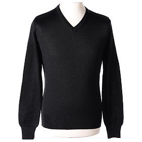 V-neck jumper for clergymen black plain knit In Primis s1