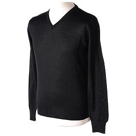 V-neck jumper for clergymen black plain knit In Primis s3