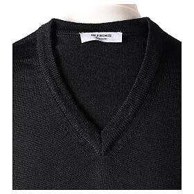 V-neck jumper for clergymen black plain knit In Primis s6