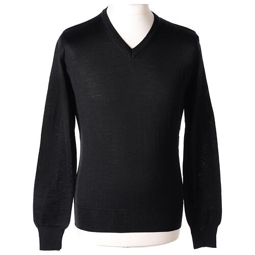 V-neck jumper for clergymen black plain knit In Primis 1